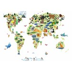 Animal World Map Canvas