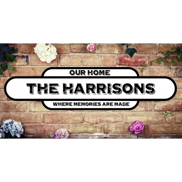 Black border Vintage station sign - Large 56cm x 14cm