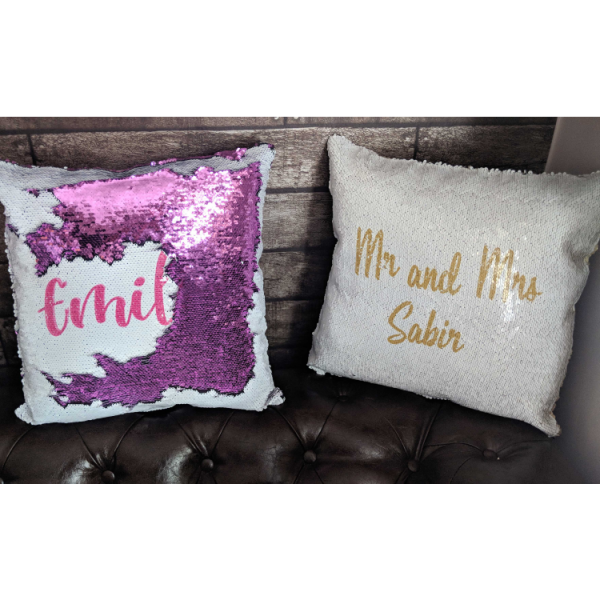 Personalised Text magic sequin cushion